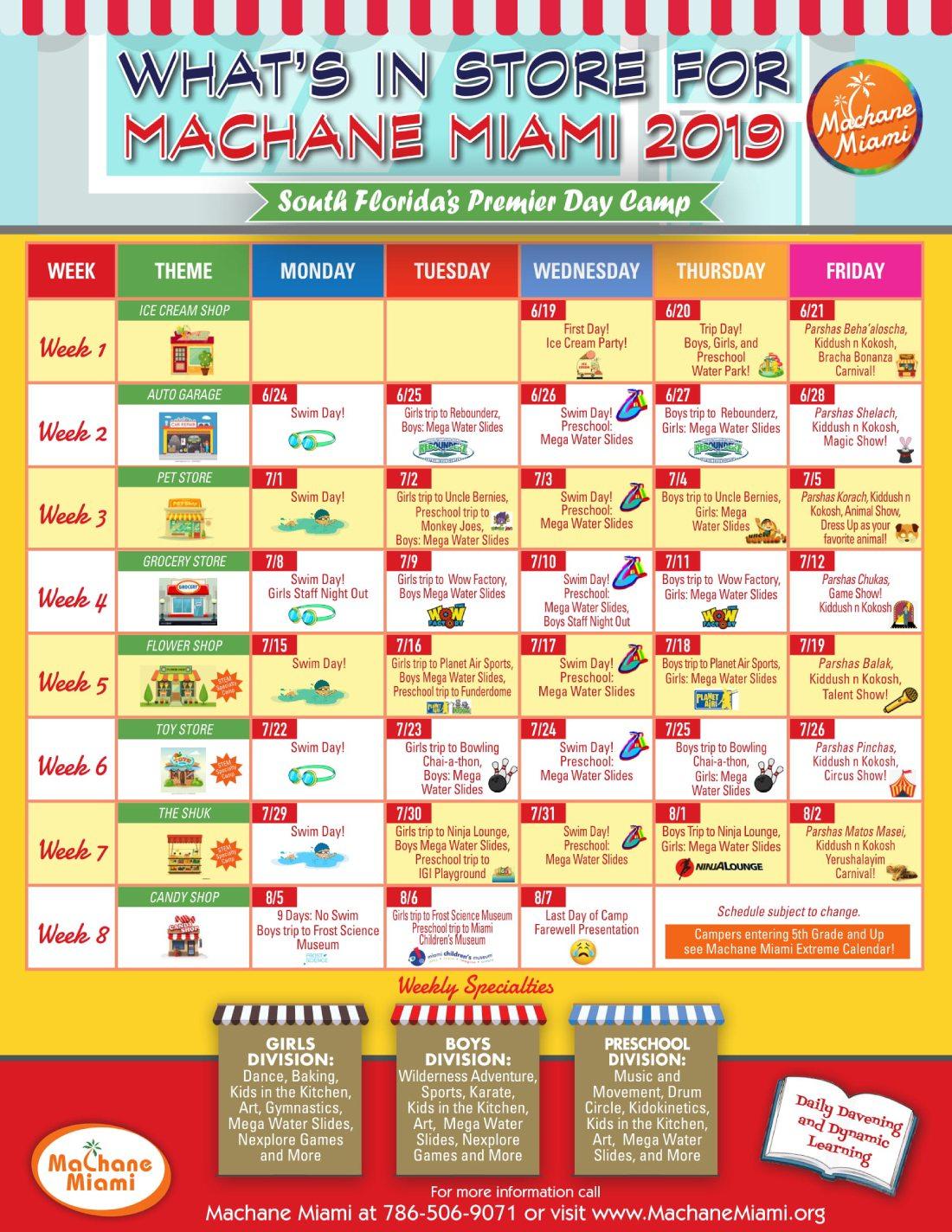 Torah Calendar.Camp Calendar Machane Miami